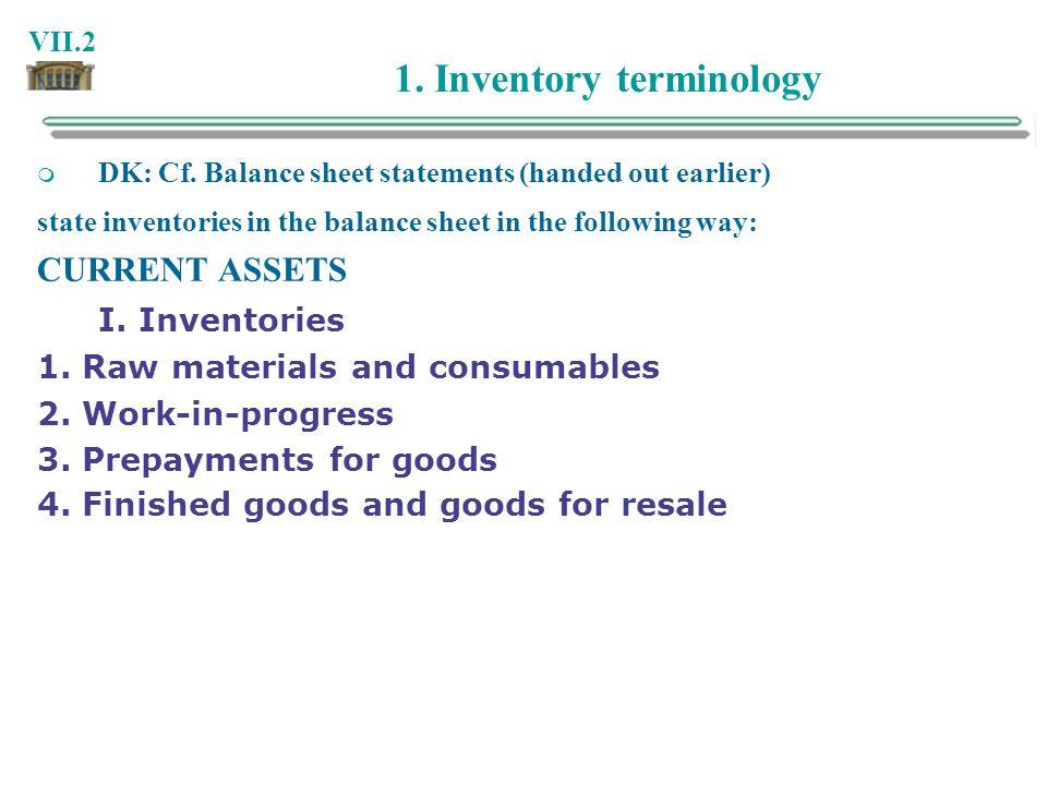 1. Inventory terminology