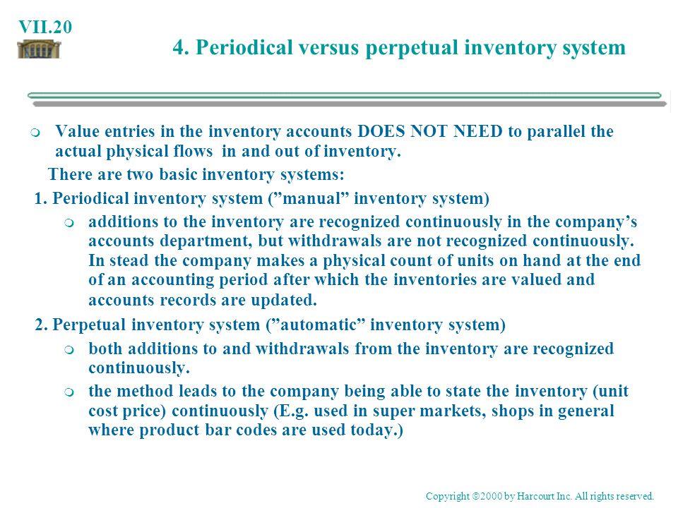 4. Periodical versus perpetual inventory system