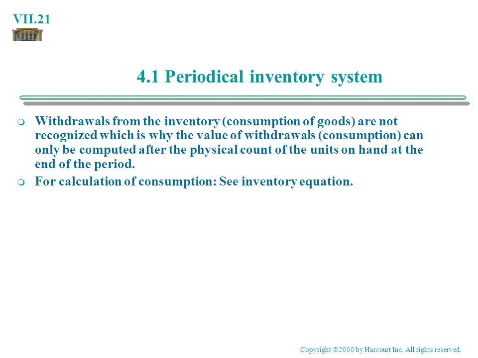 4.1 Periodical inventory system