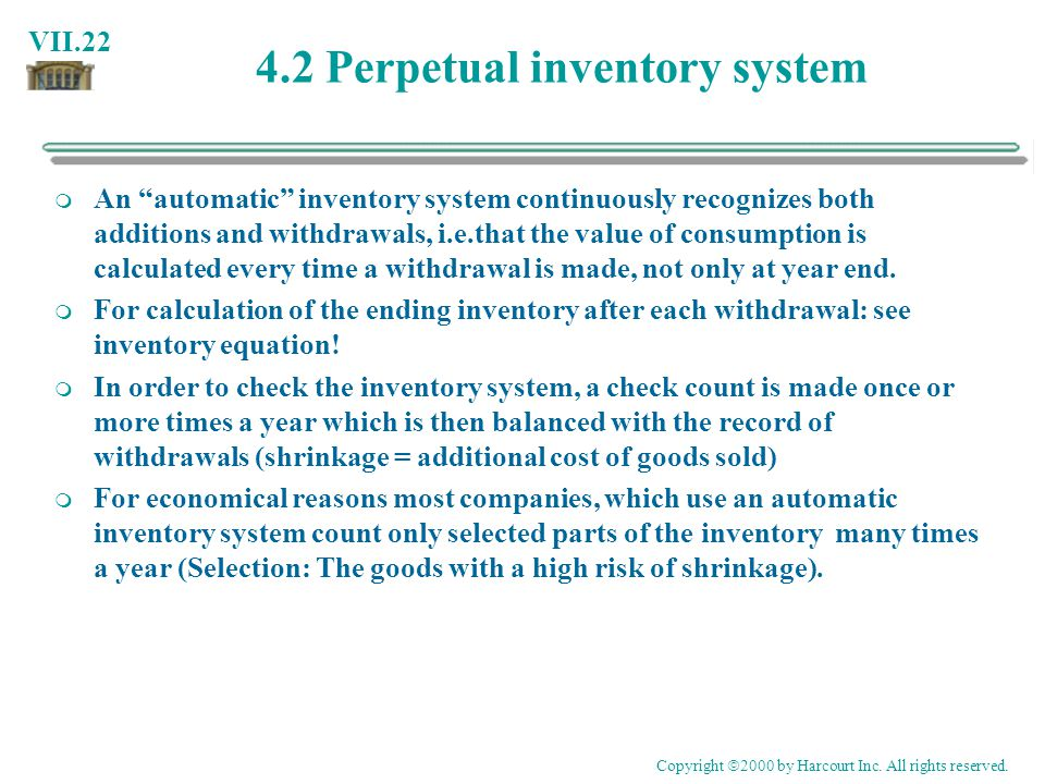 4.2 Perpetual inventory system