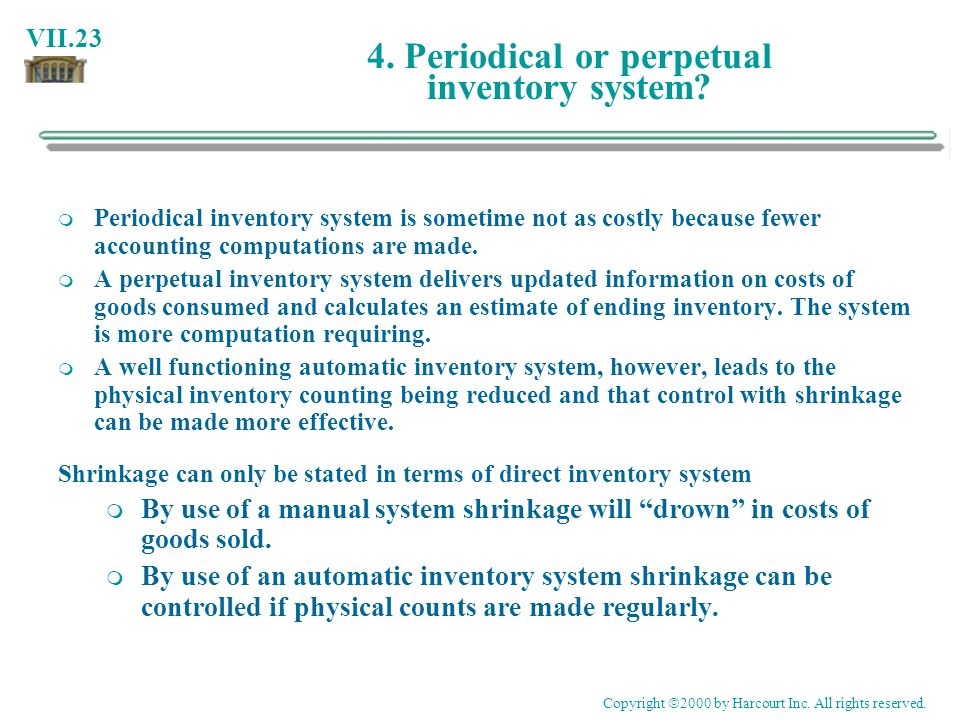 4. Periodical or perpetual inventory system