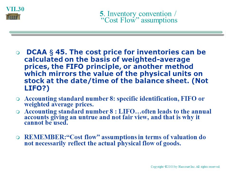 5. Inventory convention / Cost Flow assumptions