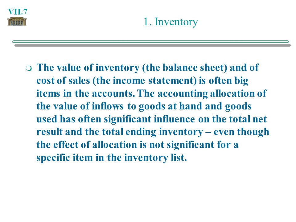 1. Inventory