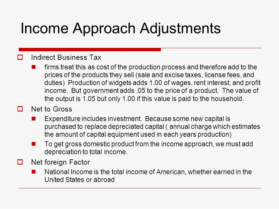 Income Approach Adjustments