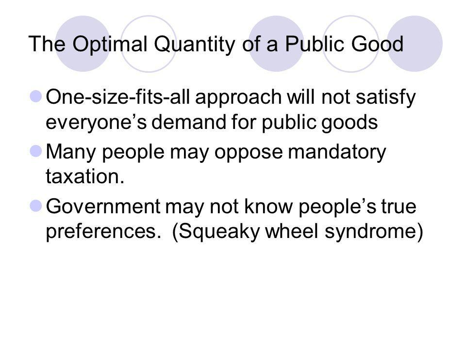 The Optimal Quantity of a Public Good
