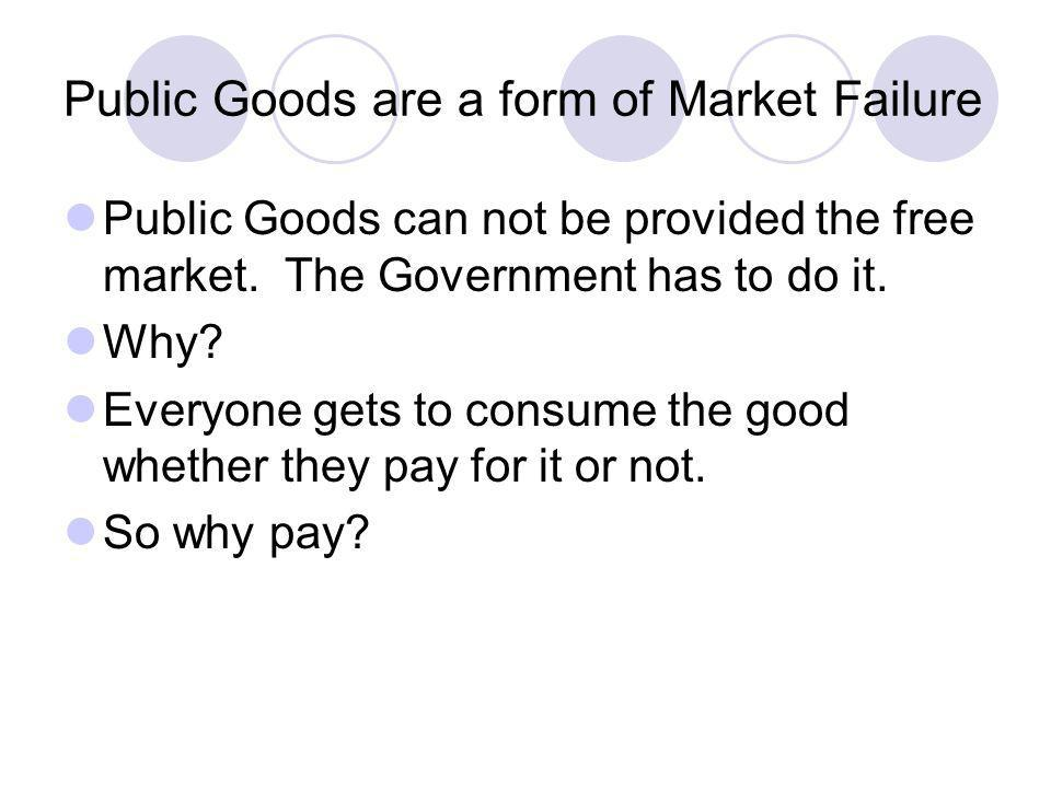 Public Goods are a form of Market Failure