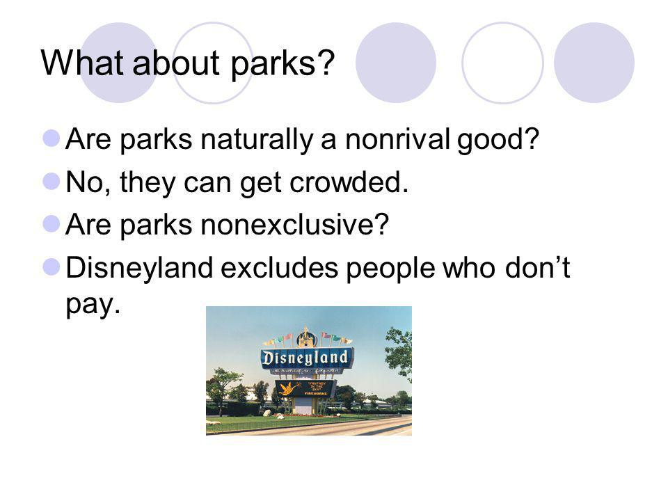 What about parks Are parks naturally a nonrival good