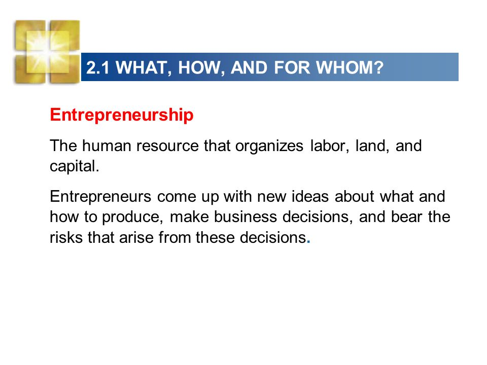 2.1 WHAT, HOW, AND FOR WHOM Entrepreneurship