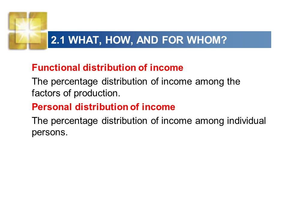 2.1 WHAT, HOW, AND FOR WHOM Functional distribution of income