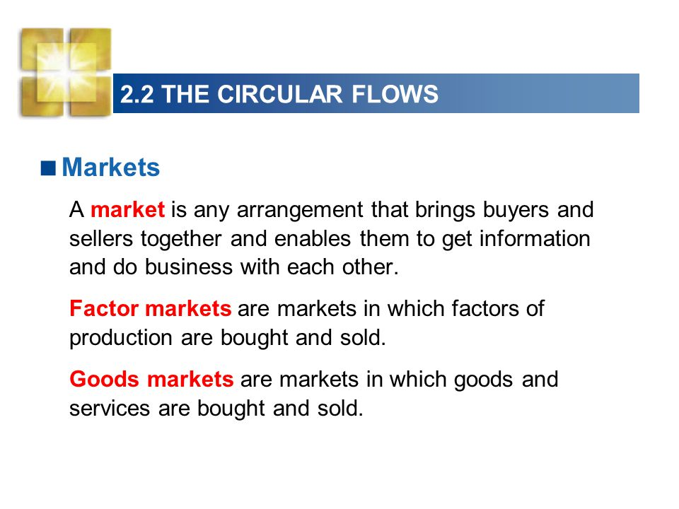 Markets 2.2 THE CIRCULAR FLOWS