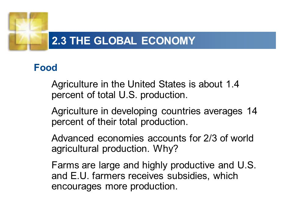 2.3 THE GLOBAL ECONOMY Food