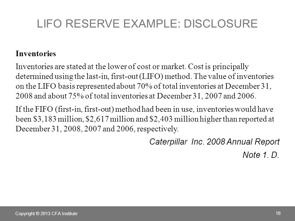 Lifo reserve example: disclosure