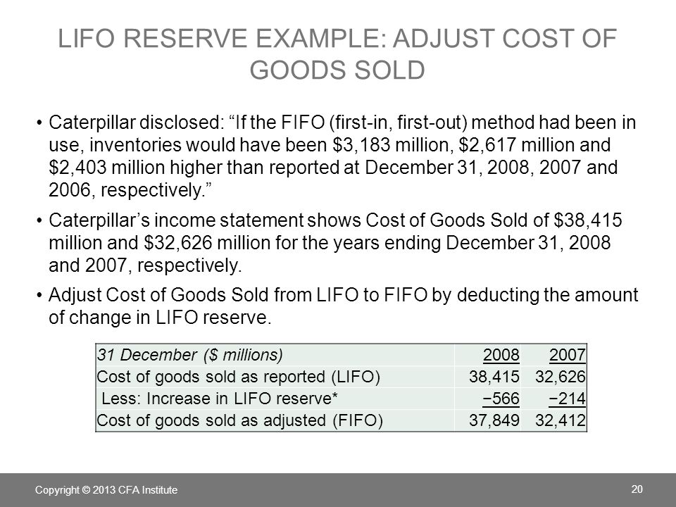 Lifo reserve example: adjust Cost of goods sold