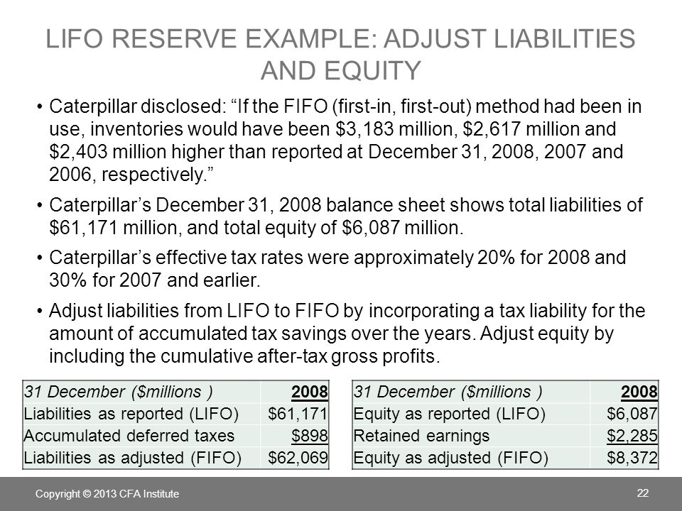 Lifo reserve example: adjust liabilities and equity
