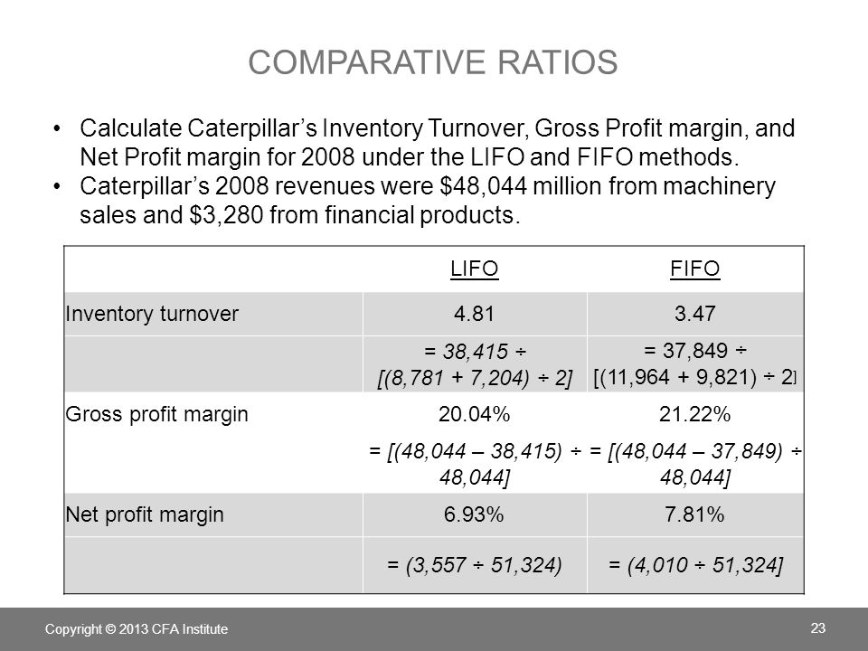 Comparative ratios Calculate Caterpillar's Inventory Turnover, Gross Profit margin, and Net Profit margin for 2008 under the LIFO and FIFO methods.