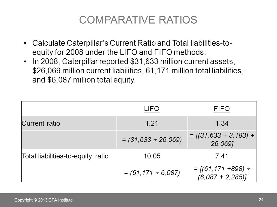 Comparative ratios Calculate Caterpillar's Current Ratio and Total liabilities-to-equity for 2008 under the LIFO and FIFO methods.
