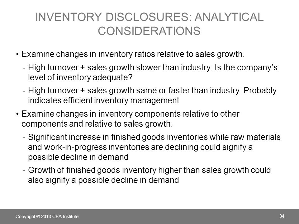inventory disclosures: analytical considerations