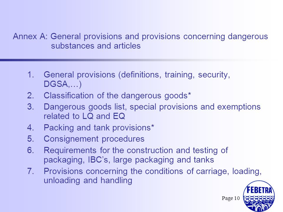 General provisions (definitions, training, security, DGSA,…)