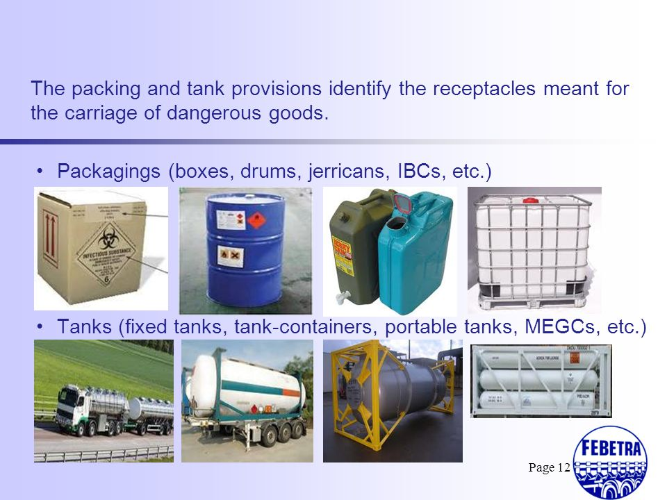 Packagings (boxes, drums, jerricans, IBCs, etc.)