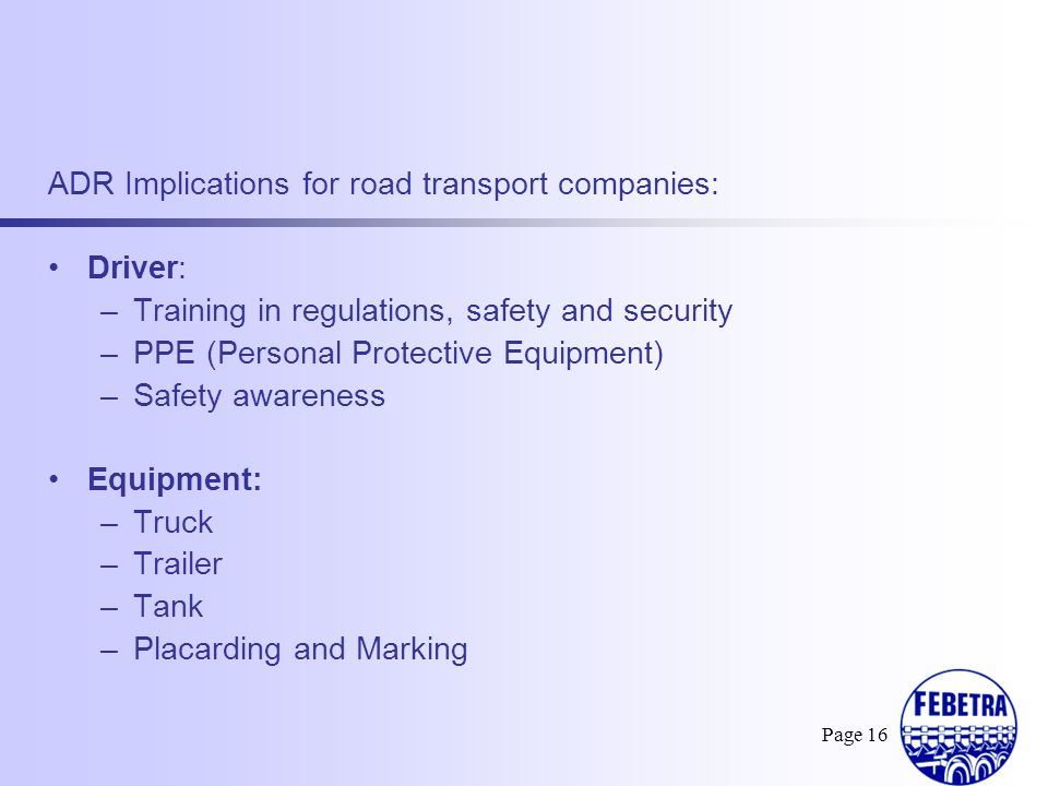 ADR Implications for road transport companies: