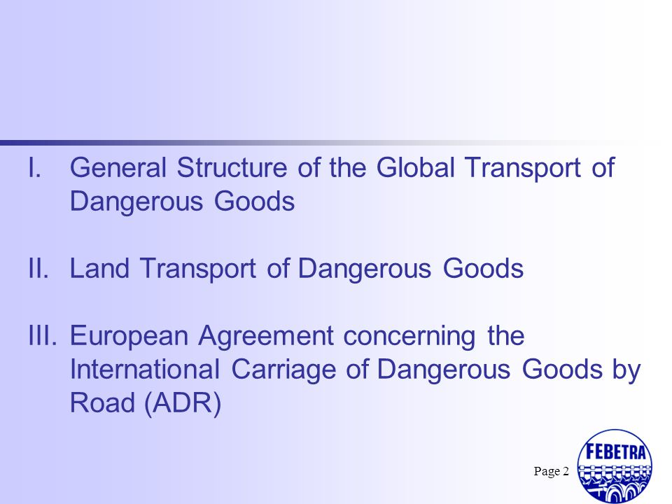 General Structure of the Global Transport of Dangerous Goods