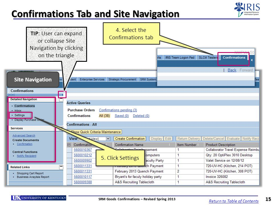 Confirmations Tab and Site Navigation