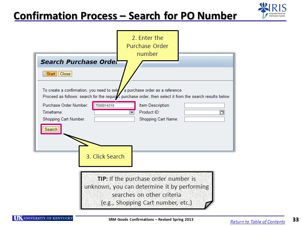 Confirmation Process – Search for PO Number