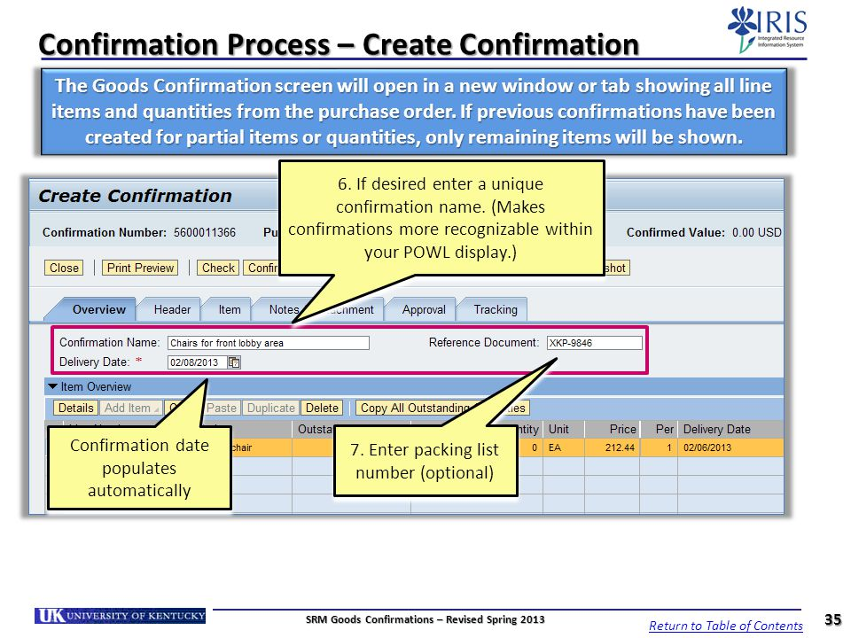 Confirmation Process – Create Confirmation