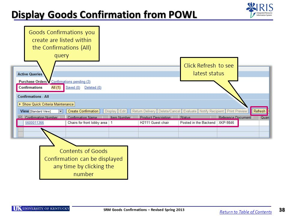 Display Goods Confirmation from POWL