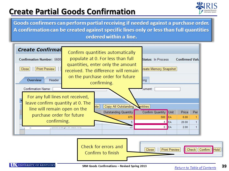 Create Partial Goods Confirmation