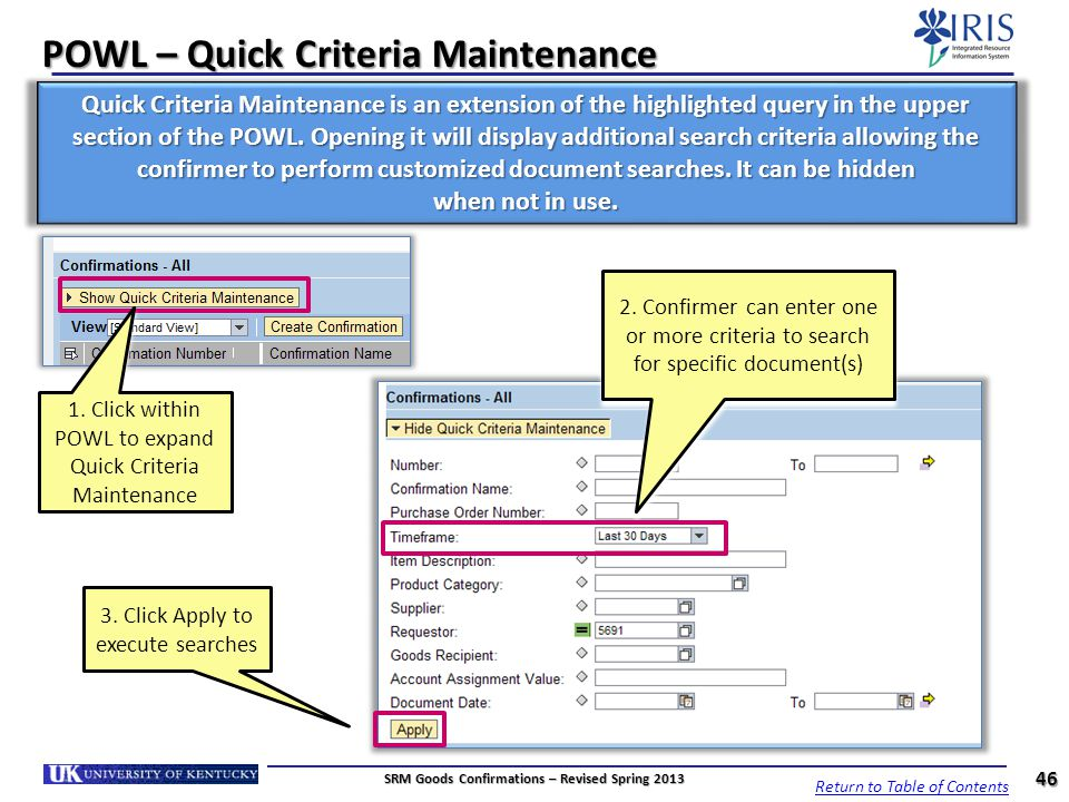 POWL – Quick Criteria Maintenance