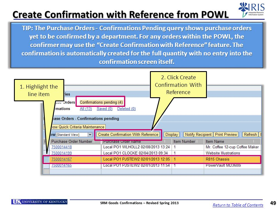 Create Confirmation with Reference from POWL