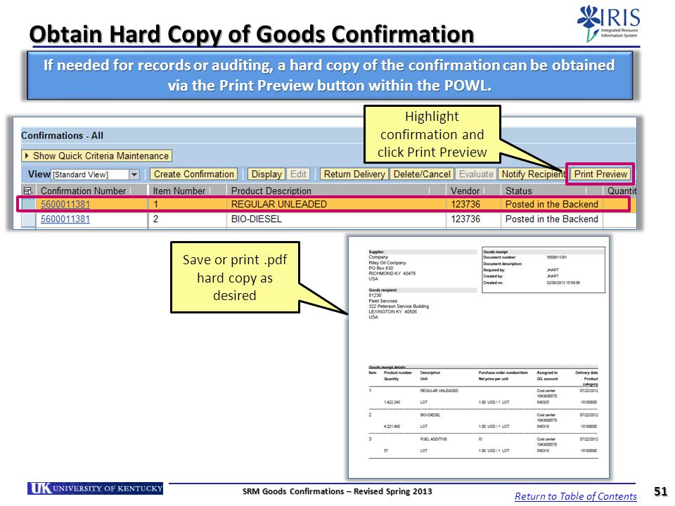 Obtain Hard Copy of Goods Confirmation