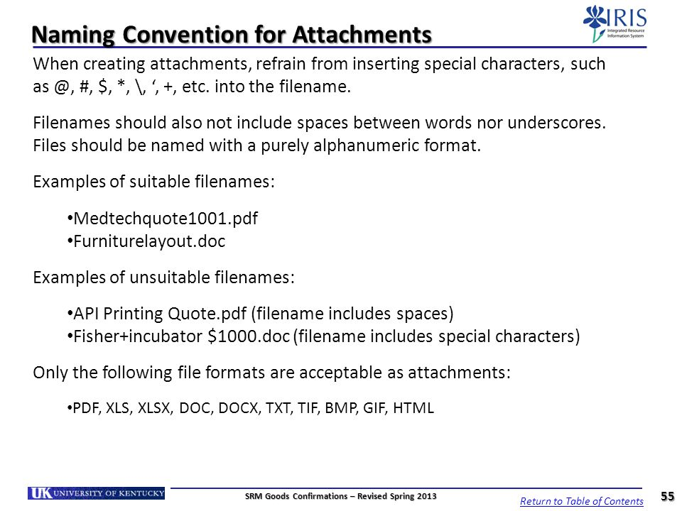 Naming Convention for Attachments
