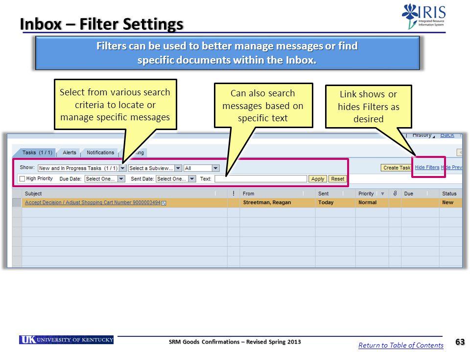Inbox – Filter Settings
