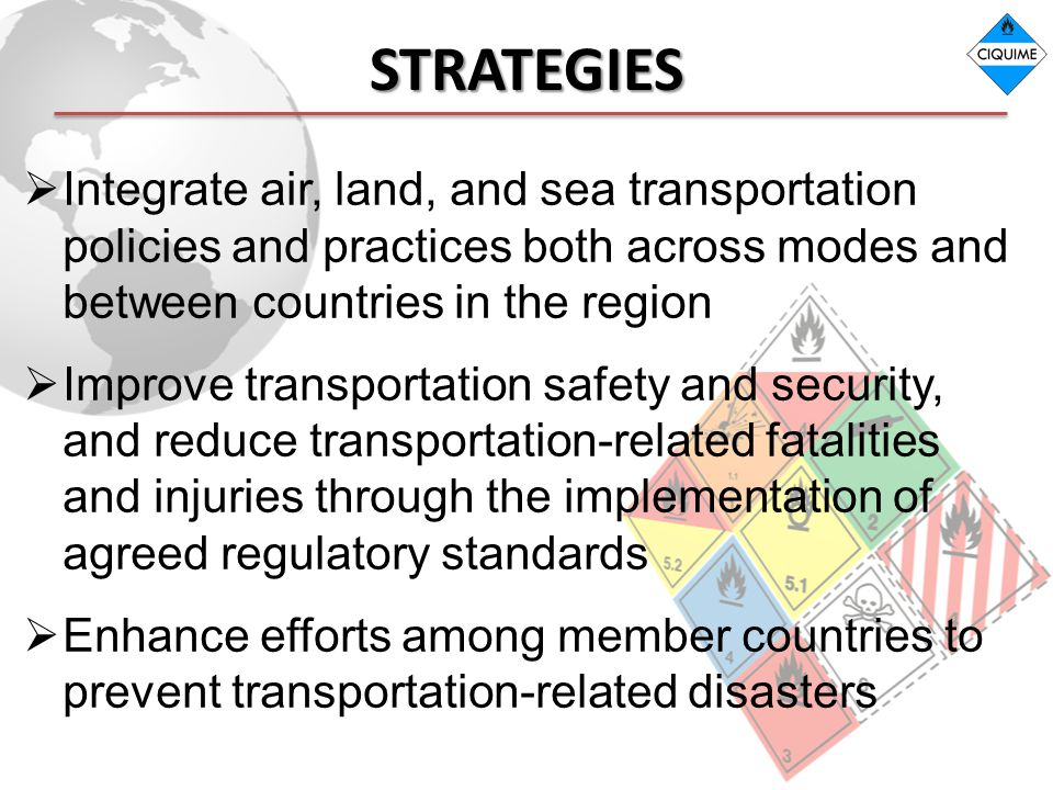 STRATEGIES Integrate air, land, and sea transportation policies and practices both across modes and between countries in the region.