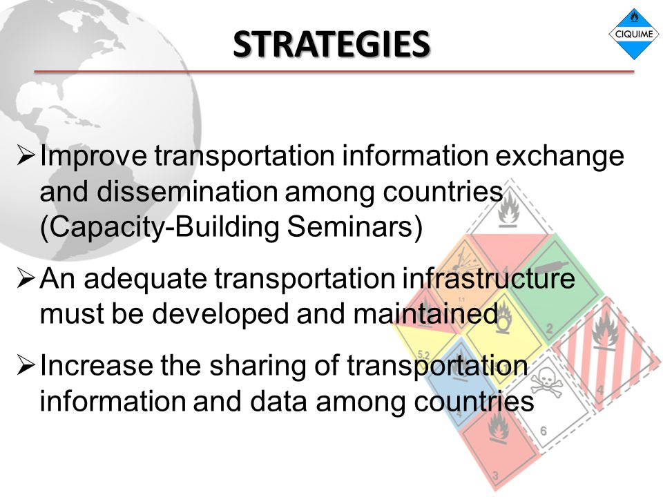 STRATEGIES Improve transportation information exchange and dissemination among countries (Capacity-Building Seminars)