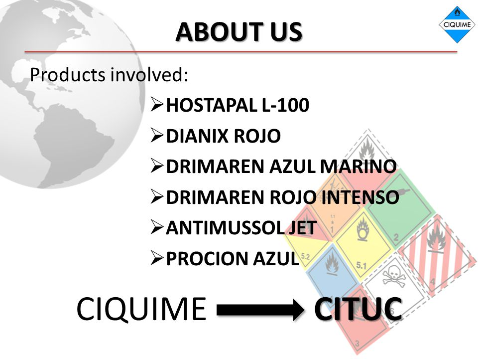 CIQUIME CITUC ABOUT US Products involved: HOSTAPAL L-100 DIANIX ROJO