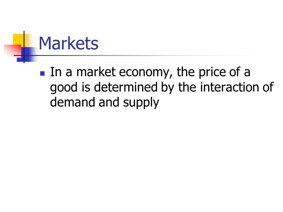 Markets In a market economy, the price of a good is determined by the interaction of demand and supply.