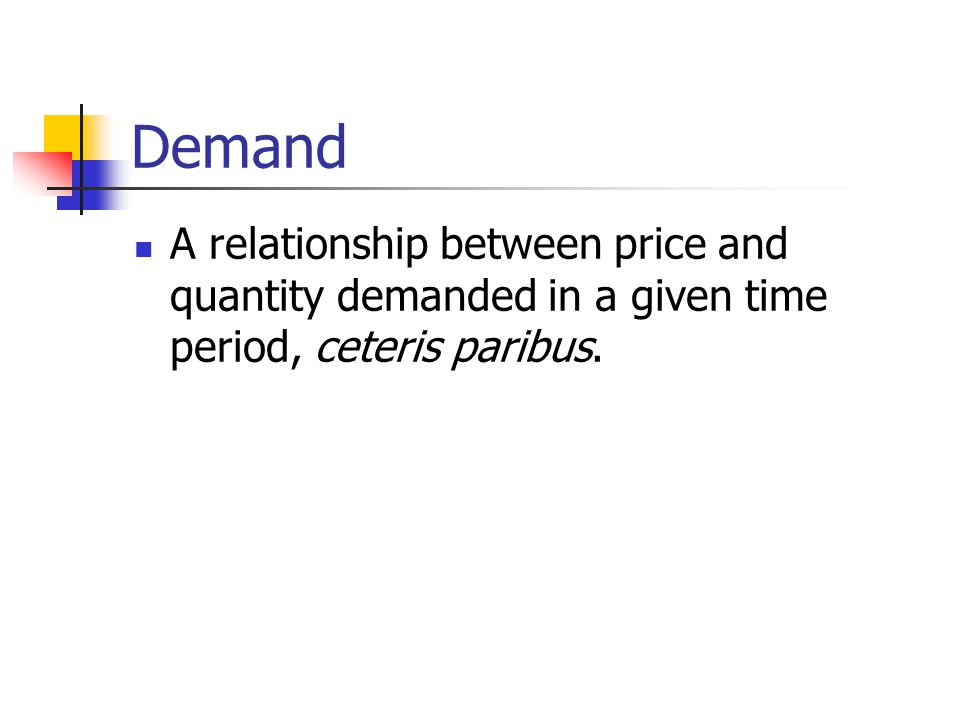 Demand A relationship between price and quantity demanded in a given time period, ceteris paribus.