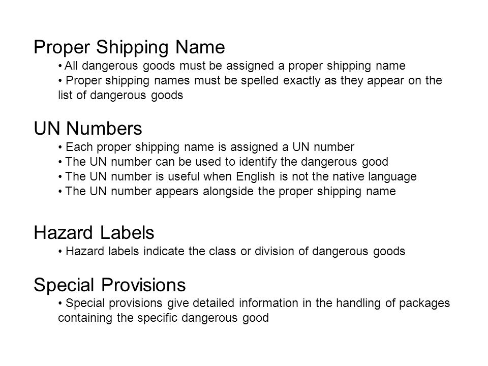 Proper Shipping Name UN Numbers Hazard Labels Special Provisions