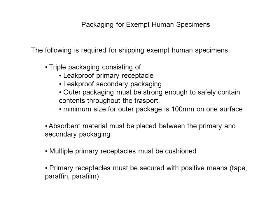 Packaging for Exempt Human Specimens