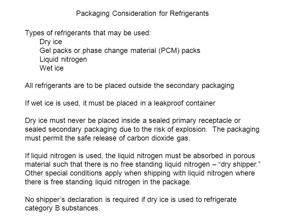 Packaging Consideration for Refrigerants