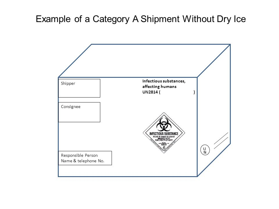 Example of a Category A Shipment Without Dry Ice