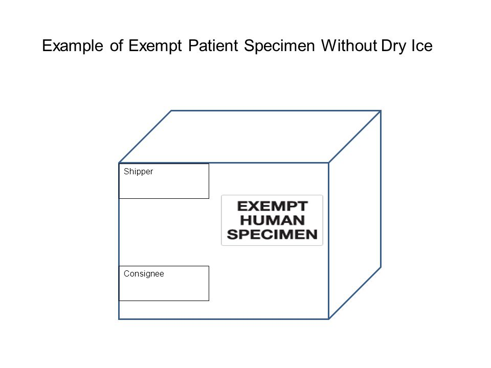 Example of Exempt Patient Specimen Without Dry Ice