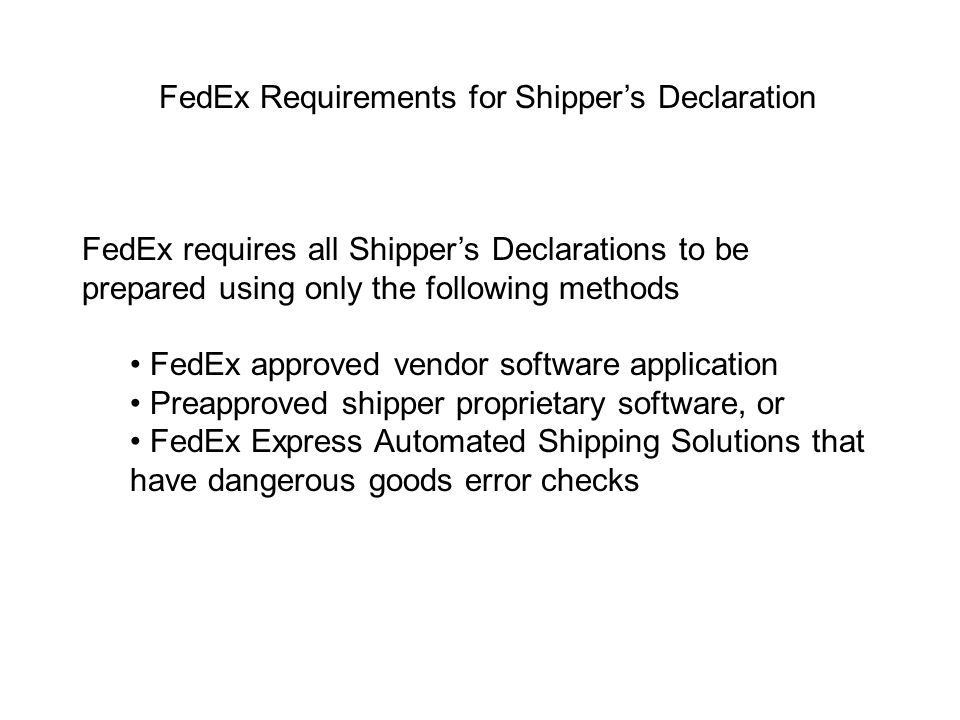 FedEx Requirements for Shipper's Declaration