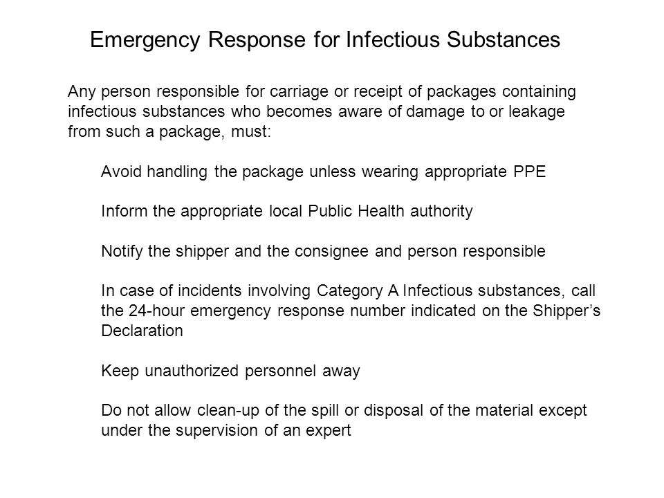 Emergency Response for Infectious Substances