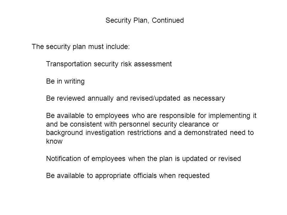 Security Plan, Continued