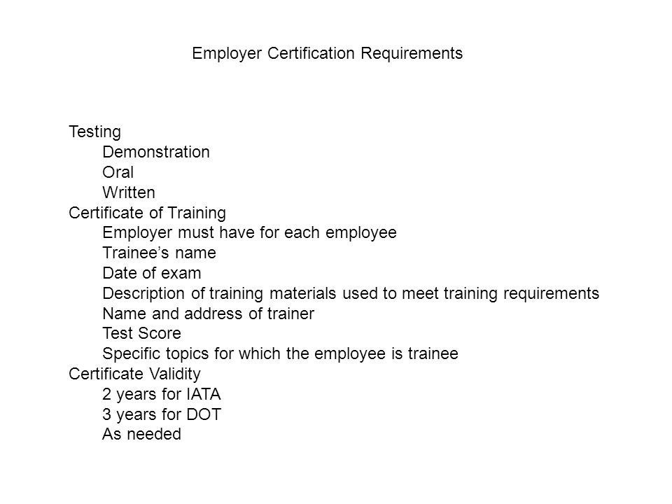 Employer Certification Requirements