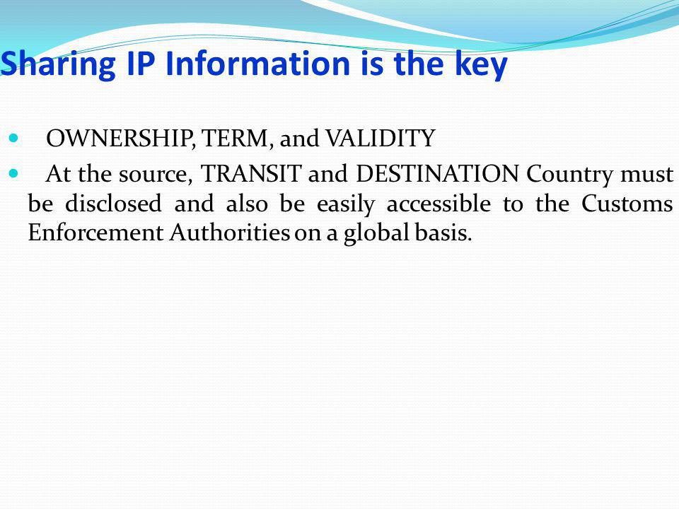 Sharing IP Information is the key